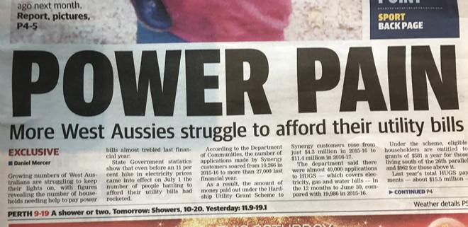 Front-page headline from the West Australian newspaper, July 2017.